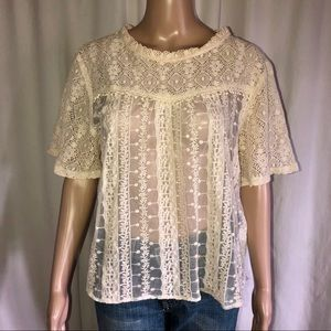 Love J short sleeve lace blouse
